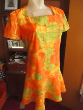 sz 6-8 True Vtg 60s ORANGE/GREEN ABSTRACT PRINT ULTRA THIN NYLON MODERN DRESS