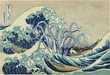 TENTACLES Print HOKUSAI Great WAVE Off Kanagawa Cthulhu HP Lovecraft Squid