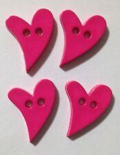 4x Bright Pink Cutesy Heart Buttons - Australian Supplier