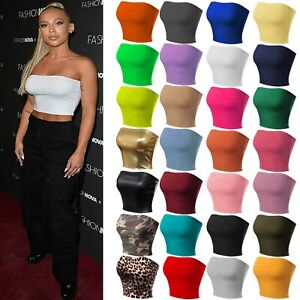 Womens Longline Sleeveless Crop Top Stretchy Solid Strapless Boobtube Tube Tops