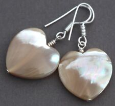 CREAM HEART SHAPED SHELL EARRINGS SILVER PLATED