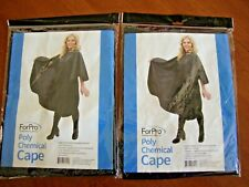 """2 New ForPro POLY CHEMICAL CAPE Black PVC Coated Polyester  58""""L X 47""""W  #440533"""