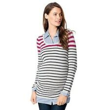 Maternity Oh Baby Motherhood Gray Blue Sweater Striped Layered Sz L NWT
