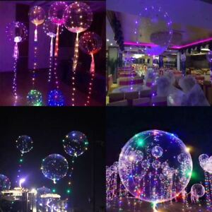 Clear LED Lights Balloons Transparent Wedding Birthday Party Decor Decoration
