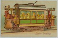 Fantasy Easter~Postcard- Chicks in Street Car Trolley Train ~1907~Embossed~s-238