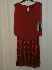 SCARLETT -Blouson Top & Sequins skirt  Dress ,  size: 12 , color: Red