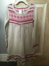 New Justice Dress, Girls, White And Pink, Knitted, Long Sleeve, Size 6