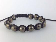 MEN'S PYRITE Silver Gemstone Beads Shamballa Beaded Black Jewelry Bracelet