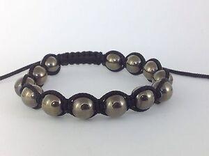 MEN'S PYRITE Silver Gemstone Beads Shambhala Beaded Black Jewelry Bracelet