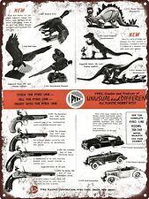 "1959 Pyro Toys Model Dinosaur Caveman Kits Pistol Metal Sign 9x12"" A061"