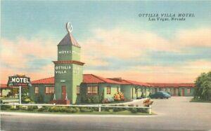 Las Vegas Nevada Ottilia Villa Motel roadside Sellers Linen Postcard 21-10655
