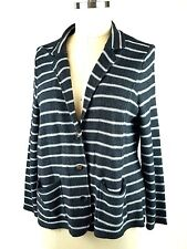 Tahari Cardigan Sweater 3X Jacket Merino Wool Blend Gray Striped Pockets