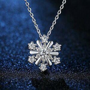925 Silver Snowflake Zircon Pendant Necklace Clavicle Chain Women Jewelry Xmas