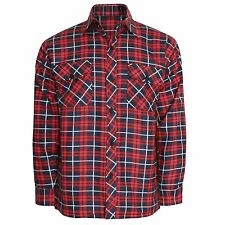 Mens Flannel Brushed Cotton Work Shirt Lumberjack Check Long Sleeve M to 6xl Red Navy L
