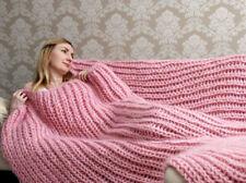 5 strands Premium Longhair Mohair Plaid Blanket Bedspread hand knit Light pink