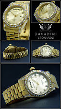 Cavadini Leonardo Case & Band Solid Stainless Steel IPG - Gold Plated Tag / Date