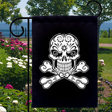 Sugar Skull Crossbones New Black Small Garden Yard Flag Day of the Dead