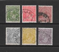 1924 King George V SG76 to SG81 inc. Set of 6  Wmk 5. P14. HEADS  Used AUSTRALIA