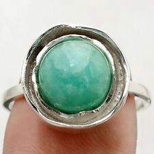 Russian Amazonite 925 Sterling Silver Handmade Ring Jewelry s.9 SDR71141