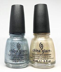 china glaze nail polish Luna 815 + Bubbly 825 Holo Silver Blue & Champagne Shimm