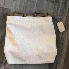Arbonne White Vegan Leather Woven Drawstring Backpack Purse Bag Large