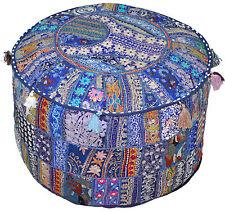 Bohemian Patchwork Pouf Ottoman in Blue Vintage Pouffe Moroccan Chair Bean Bag