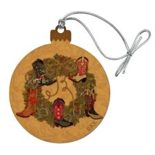 Christmas Boot Wreath Cowboy Western Wood Christmas Tree Ornament