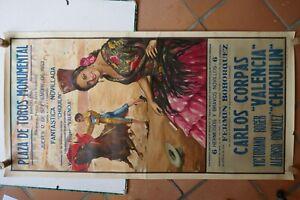 Affiche ancienne 1953 TAUROMACHIE CORRIDA MONUMENTAL BARCELONA Litho ORTEGA