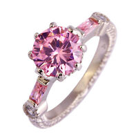 Exquisite Round Cut Pink White Topaz Gemstone Silver Jewelry Ring Size 6 7 8 9