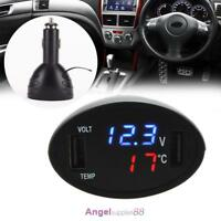 3in1 Car Digital LED Thermometer Dual USB Charger Cigarette Voltmeter 12V/24V