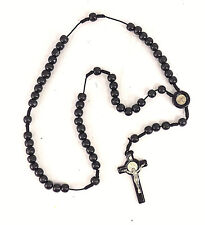 "BLACK ACRYLIC ROSARY Beads AND CROSS 21"" LONG CHRISTIANITY GIFT RELIGION COLLECT"