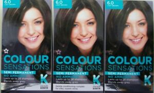 3 X SUPERDRUG COLOUR SENSATIONS SEMI PERMANENT HAIR DYE 6.0 LIGHT BROWN