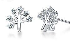 10mm Wish Tree Women 925 Sterling Silver Pierced Post Stud Earring Holiday Gift