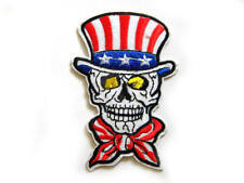 Uncle Sam Skull Embroidered Iron On / Sew On Patch