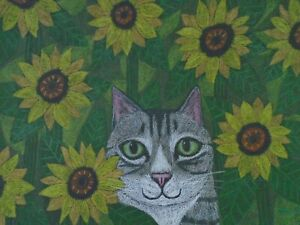 Cats Ollietuxedo Original Gray Tabby Cat with Sunflowers 9x12 Canson Paper Cats