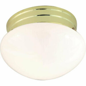 Nuvo SF77/059 Small Polished Brass Mushroom with White Glass