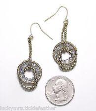 "Crystal Ring Dangle 2.25"" Long Unusual Pierced Earrings, Brasstone Chains w/Ab"