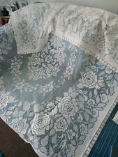 """lovely cream  lacy table cloth 53"""" x 66"""""""