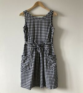 Fat Face dress size 10 Angie navy blue white gingham checked sleeveless belt