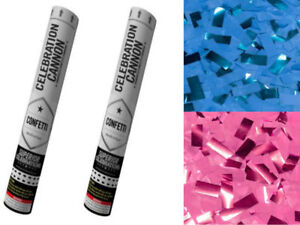 Gender Reveal Metallic Confetti Poppers Blue Pink Mix For Baby Reveal Boy-Girl