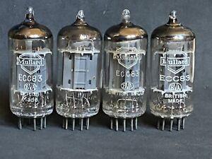 RARE LOT OF 4 x  MULLARD ECC83 LONG PLATE f92  1958-1959