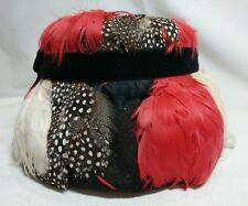 Black Wool Hat Covered in Bright Feathers Vintage Red White Speckled Feathers