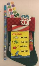Dr Seuss Christmas Santa Stocking W Pencil Notebook Stamper & More