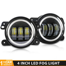 "2X 4"" LED Fog Light Angel Eye Halo Turn Signal Amber White For Jeep Wrangler JK"