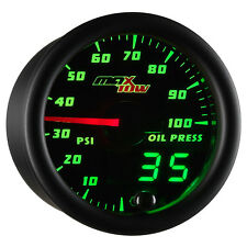 52mm MAXTOW DOUBLE VISION OIL PRESSURE PSI GAUGE - GREEN LED DIGITAL + ANALOG