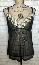 New Cacique cami lingerie black lace sheer Sz 14/16 Sleepwear Sexy Embroidered