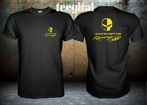 Chevrolet corvette racing jake skull yellow logo T-Shirt