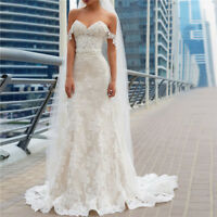 Mermaid Bridal Gown Wedding Dress Off Shoulder Appliques Lace Sweep Train Custom