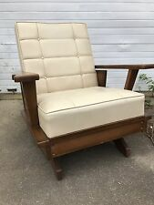 Mid Century Modern Platform Rocking Chair White Upholstery