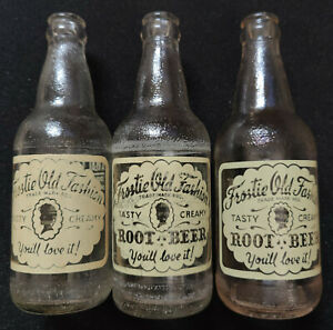 3 Different Vintage 1950s Frostie Root Beer 12 FL. OZS. Clear Glass Bottles